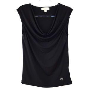 Michael Kors Black Draped Neck Sleeveless Top